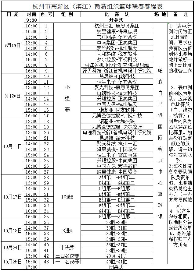 杭州市高新区(滨江)两新组织篮球联赛赛程表