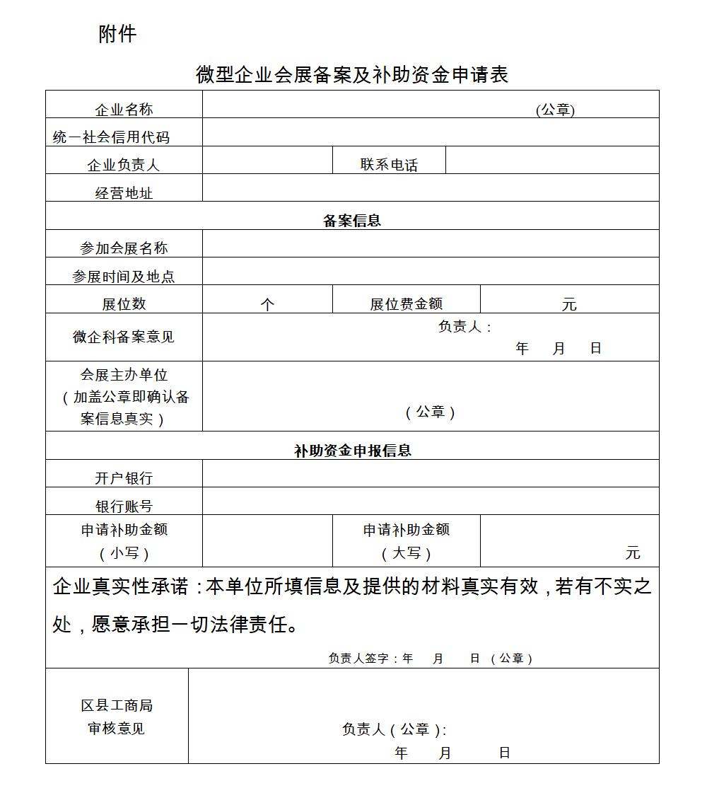 重庆市微型企业会展补助资金申请表