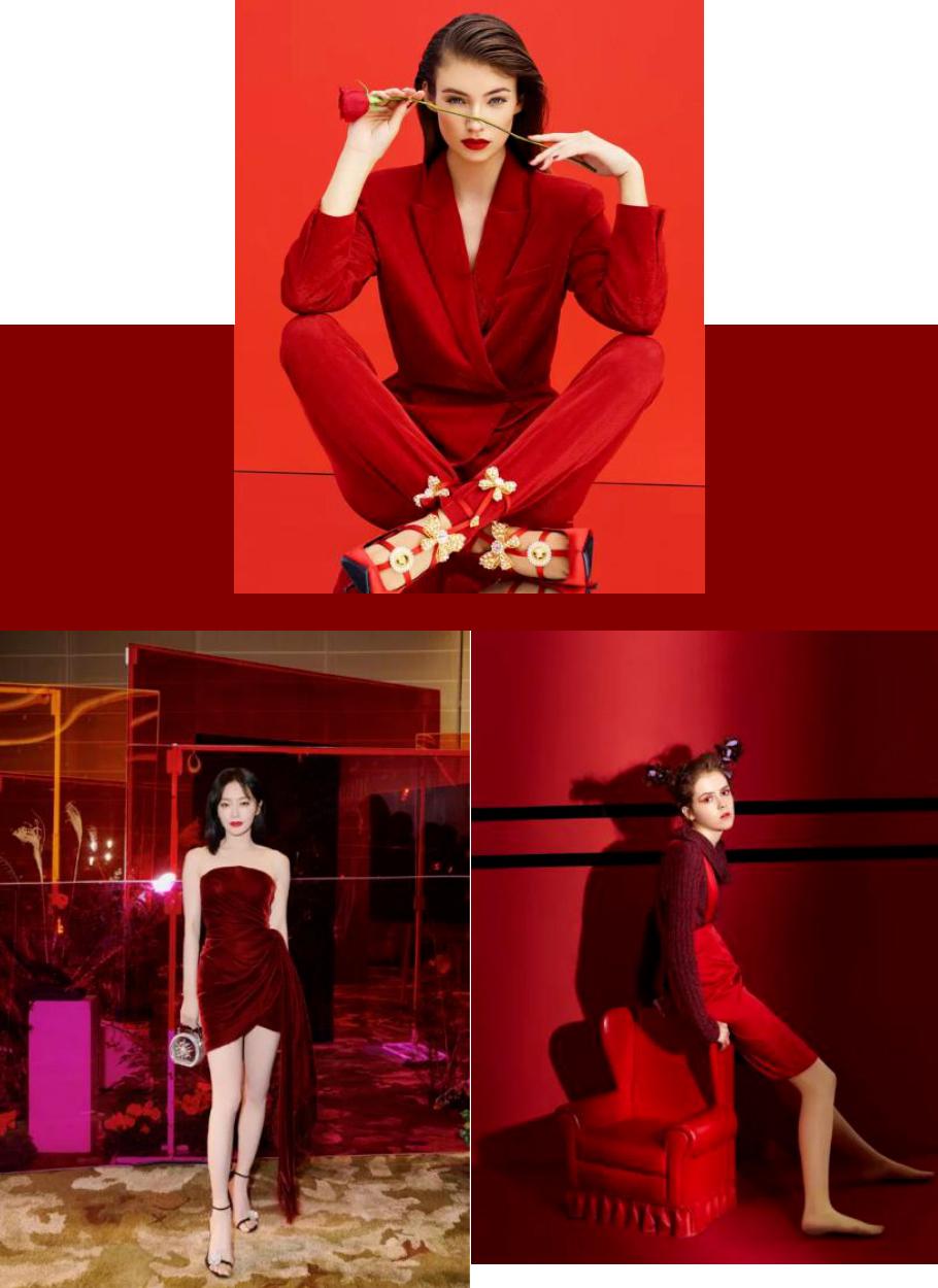 女士红色主题年会着装