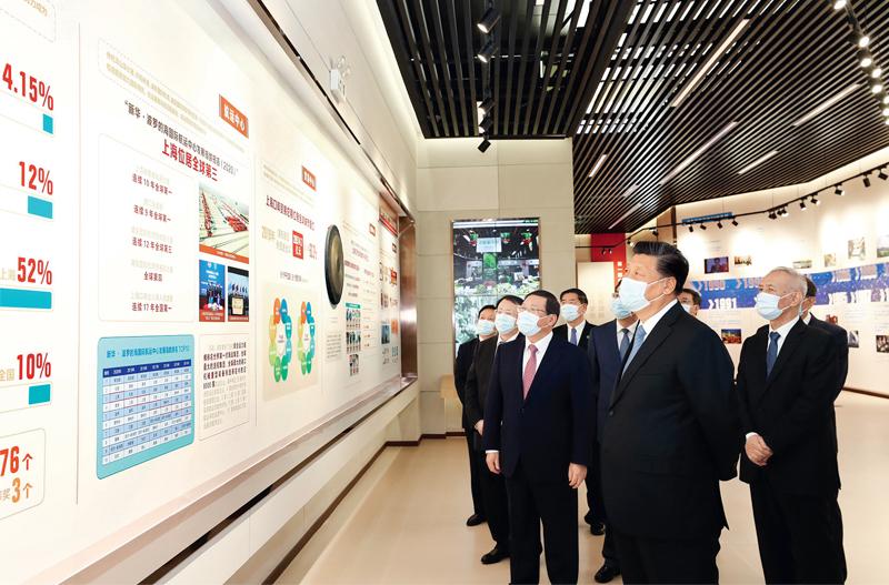 """习近平参观""""在国家战略的引领下――浦东开发开放30周年主题展"""""""
