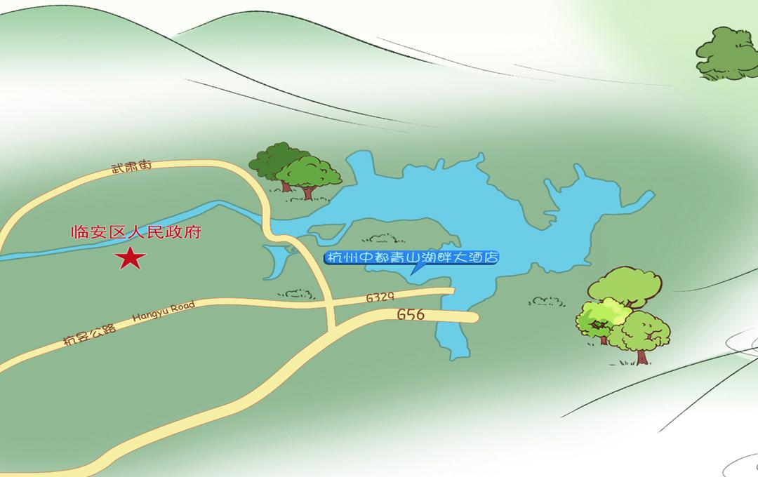 临安青山湖畔大酒店地理位置