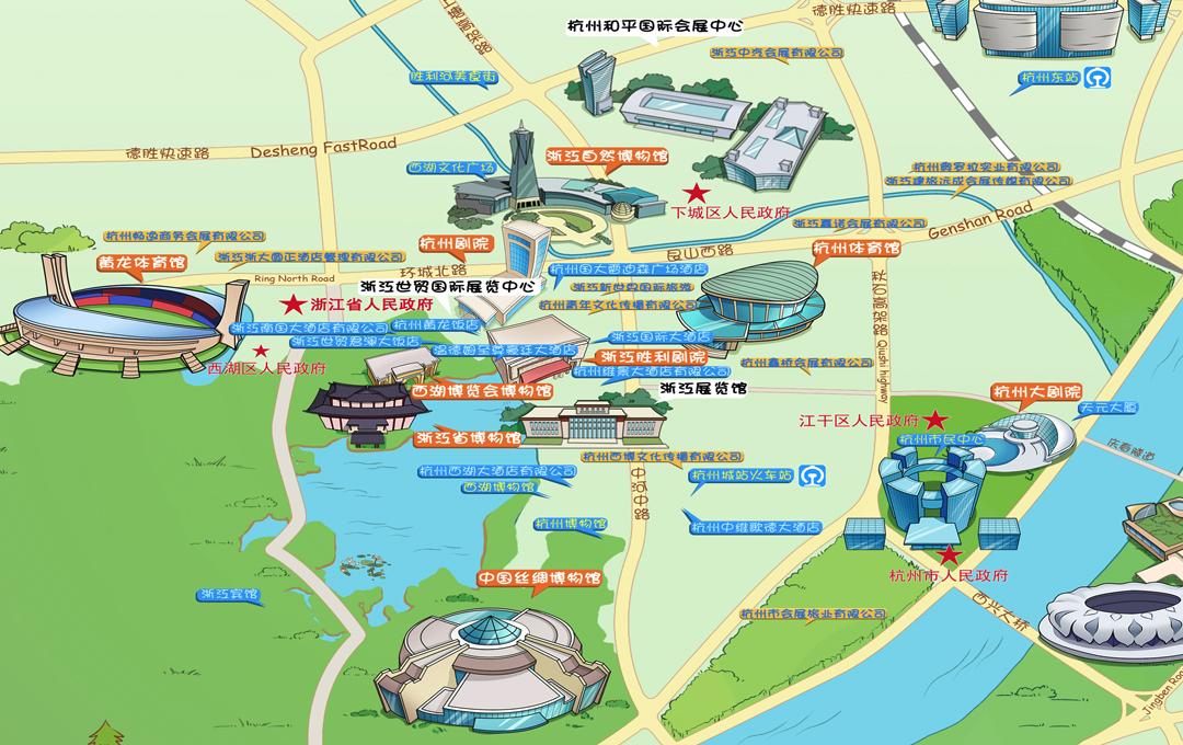 杭州主城区会议中心分布地图
